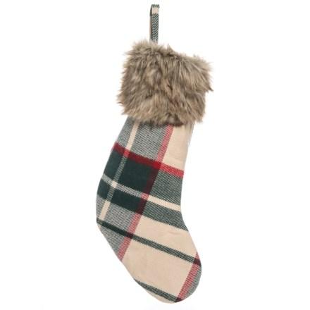 "Bella Lux Rich Decorative Christmas Stocking - 20"" in Green Tan - Closeouts 1d9cf7ff698cc"