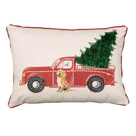 "Bella Lux Truck with Tree and Dog Throw Pillow - 14x20"" in Red - Closeouts"