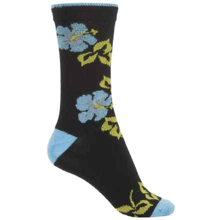 b.ella Marabel Tipped Blossom Socks - Merino Wool, Crew (For Women) in Caviar/Pale Blue - Closeouts