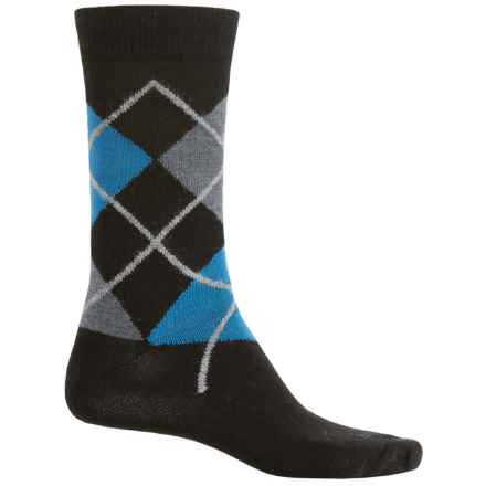 b.ella Marko Argyle Socks - Merino Wool, Crew (For Men) in Caviar/Black - Closeouts