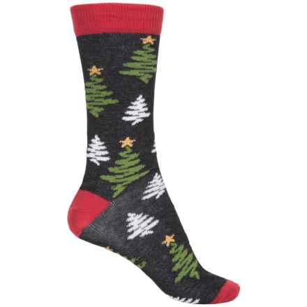 b.ella Noelle Holiday Theme Socks - Crew (For Women) in Caviar - Closeouts