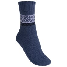 b.ella Pia Floral Socks - Virgin Wool-Cashmere Blend, Crew (For Women) in Blue - Closeouts