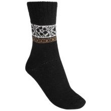 b.ella Pia Floral Socks - Virgin Wool-Cashmere Blend, Crew (For Women) in Caviar - Closeouts