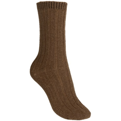 b.ella Rib Crew Socks - Cashmere Blend, Crew (For Women) in Camel