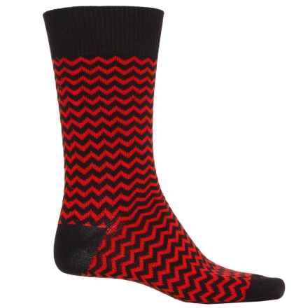 b.ella Rinaldo Chevron Socks - Mercerized Cotton Crew (For Men) in Caviar - Closeouts