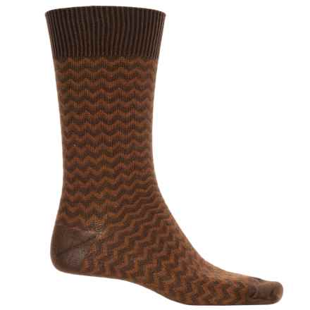 b.ella Rinaldo Chevron Socks - Mercerized Cotton Crew (For Men) in Espresso - Closeouts
