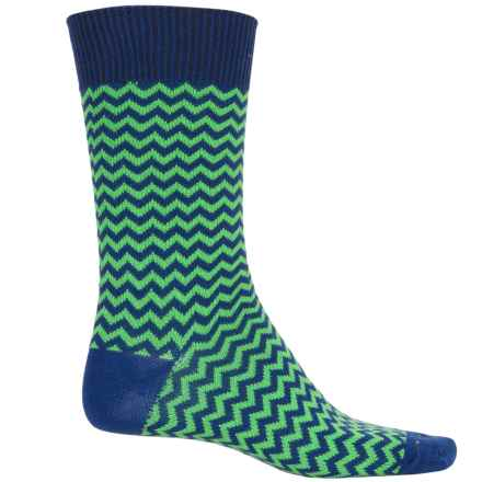 b.ella Rinaldo Chevron Socks - Mercerized Cotton Crew (For Men) in Lime - Closeouts