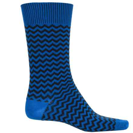 b.ella Rinaldo Chevron Socks - Mercerized Cotton Crew (For Men) in Royal - Closeouts