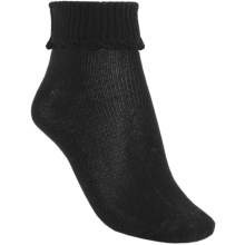 b.ella Scallop Cuff Ankle Socks - Mercerized Pima Cotton (For Women) in Caviar - Closeouts
