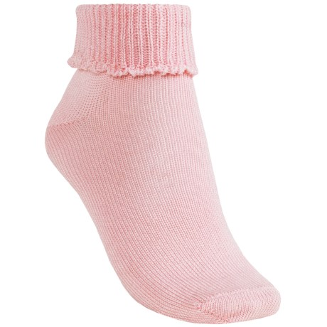 b.ella Scallop Cuff Ankle Socks - Mercerized Pima Cotton (For Women) in Light Pink