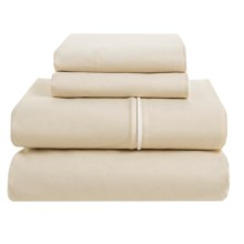 Bellora Corvina Cotton Percale Sheet Set - Queen, 300 TC, Italian Made in Taupe/White - Closeouts