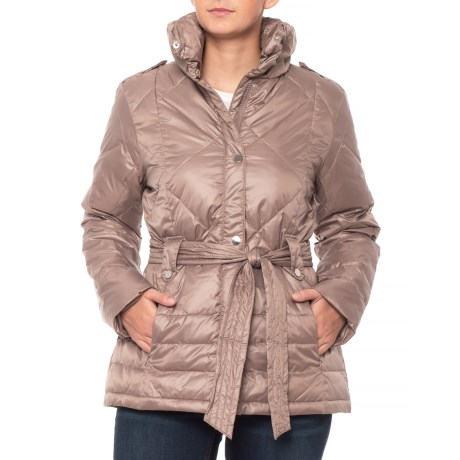 Image of Belted Diamond-Quilted Partial Down Jacket - Insulated (For Women)
