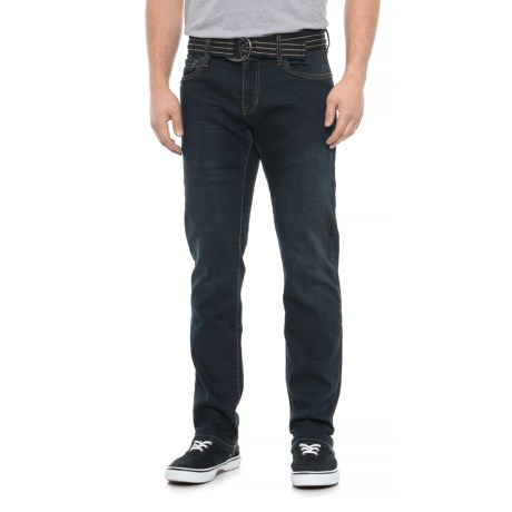 Image of Belted Slim Straight Fit Jeans (For Men)