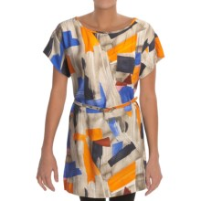 Belted Tunic Shirt - Short Sleeve (For Women) in Orange Multi - 2nds