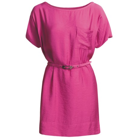Belted Woven Dress - Short Sleeve (For Women) in Fuchsia