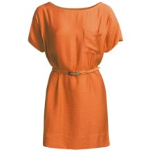 Belted Woven Dress - Short Sleeve (For Women) in Orange - 2nds