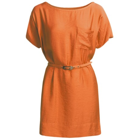 Belted Woven Dress - Short Sleeve (For Women) in Orange