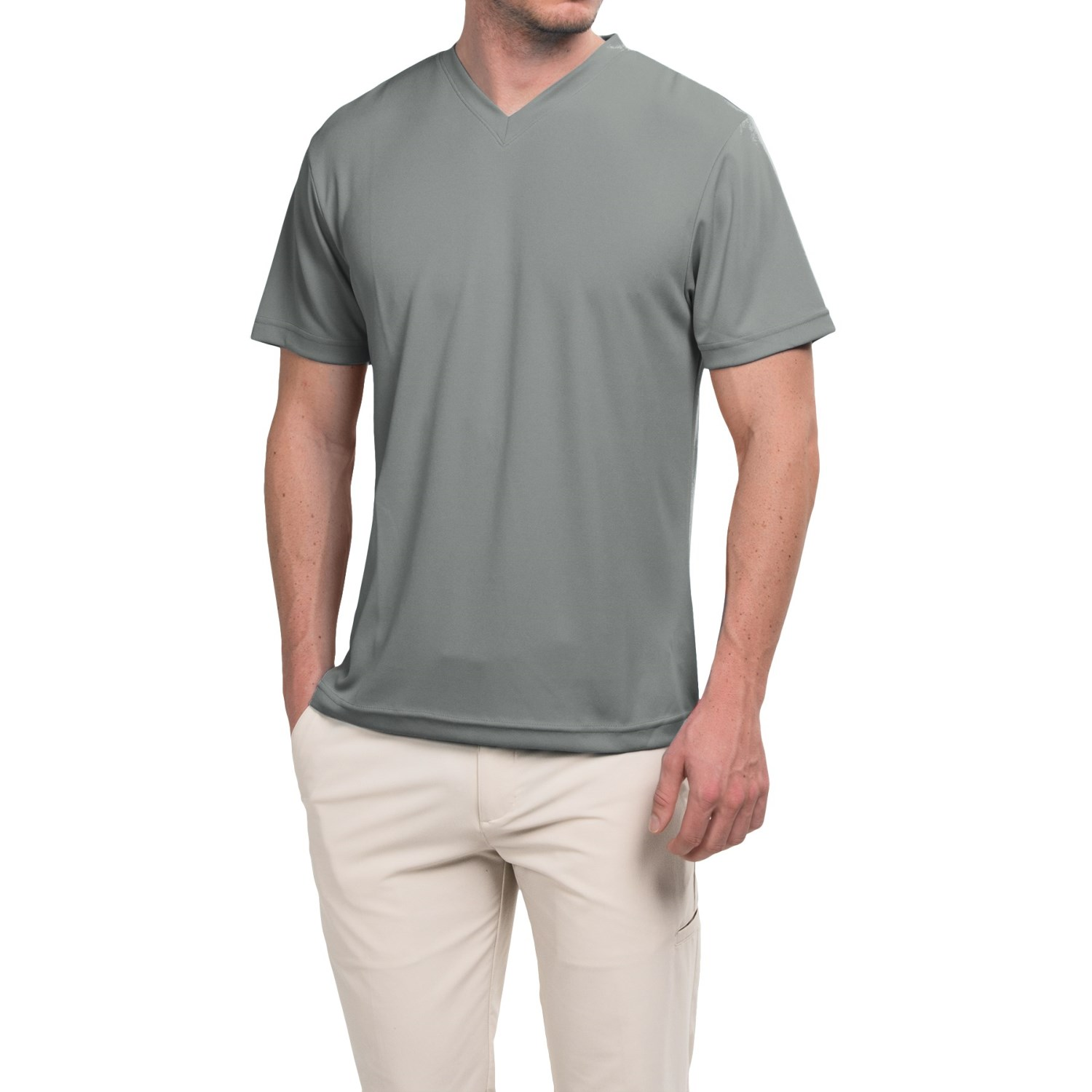 Ben hogan golf v neck shirt short sleeve for men in grey