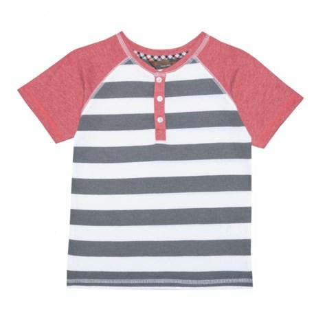 Ben Sherman Striped Henley Shirt - Short Sleeve (For Little Boys) in Red
