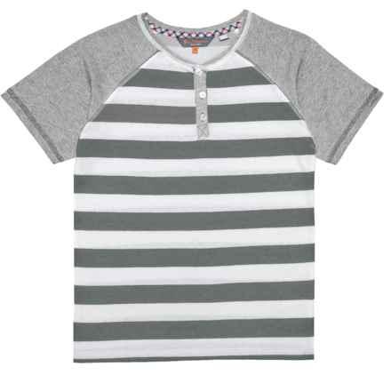 Ben Sherman Striped Henley T-Shirt - Short Sleeve (For Big Boys) in Grey - Closeouts