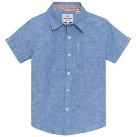 Ben Sherman Woven Shirt - Short Sleeve (For Big Boys) in Blue - Closeouts