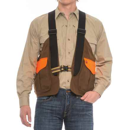 Beretta Waxed-Cotton Strap Vest (For Men) in Brown/Blaze Orange - Closeouts