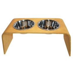 Bergan Elevated Wooden Pet Feeder - 1.5L in Light Oak