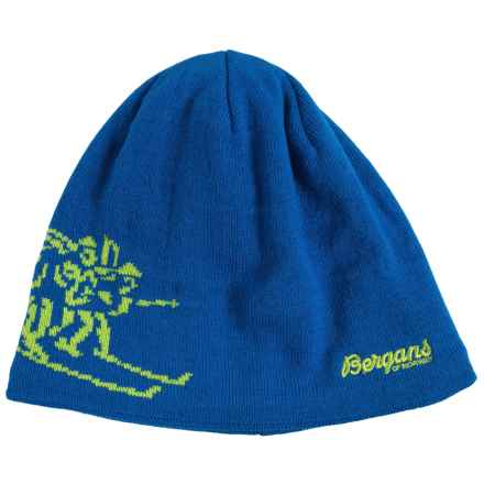 Bergans of Norway Birkebeiner Beanie (For Men and Women) in Athens Blue/Spring Leaves - Closeouts