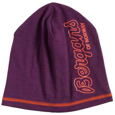 Bergans of Norway Bloom Beanie - Merino Wool (For Men and Women) in Plum/Koi Orange - Closeouts