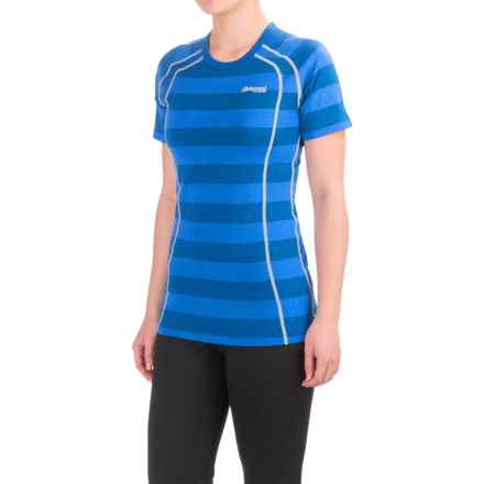 Bergans of Norway Fjellrapp Lightweight Base Layer Top - Merino Wool, Short Sleeve (For Women) in Ocean Stripped/Aluminum - Closeouts