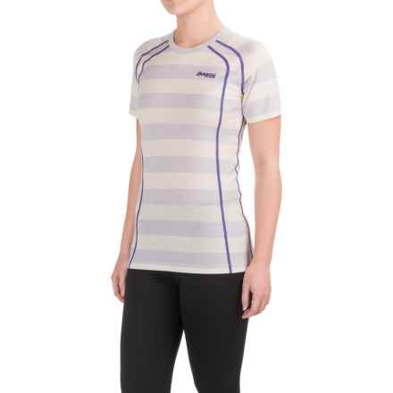 Bergans of Norway Fjellrapp Lightweight Base Layer Top - Merino Wool, Short Sleeve (For Women) in White Stripe/Funky Purple - Closeouts