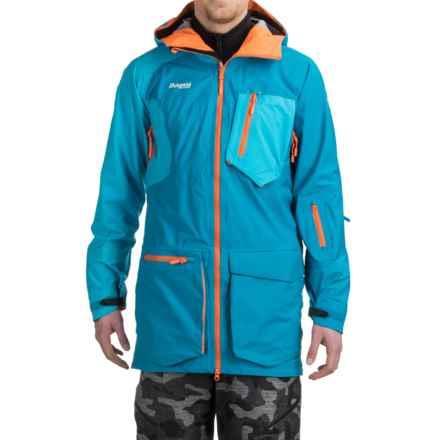 Bergans of Norway Hodlekve Ski Jacket - Waterproof, RECCO® (For Men) in Light Sea Blue/Neon Orange - Closeouts