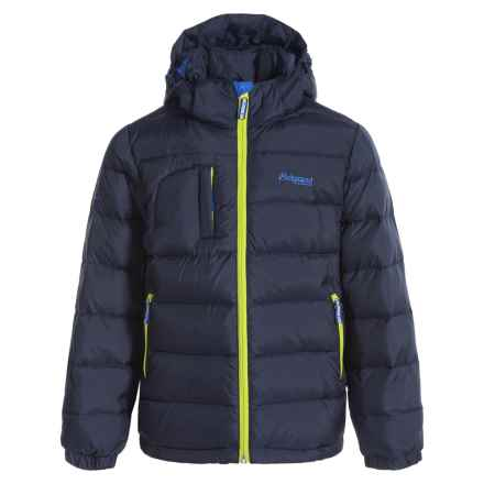 Bergans of Norway Hooded Down Jacket - 550 Fill Power (For Big Boys) in Navy/Citrus/Cobalt - Closeouts