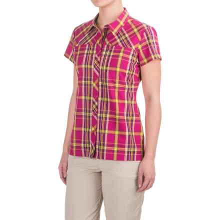 Bergans of Norway Marstein Plaid Shirt - Short Sleeve (For Women) in Cerise/Lime Check - Closeouts