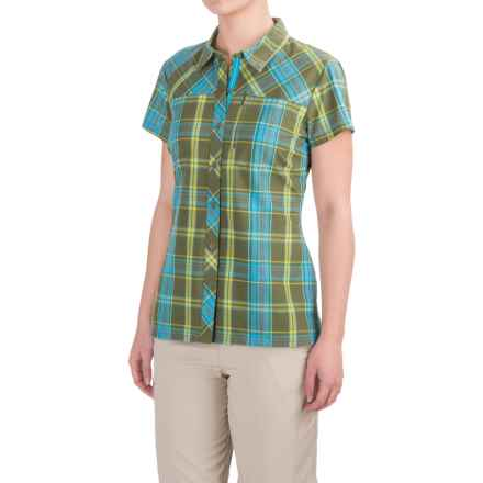 Bergans of Norway Marstein Plaid Shirt - Short Sleeve (For Women) in Green Tea/Citrus/Bright Sea Blue Check - Closeouts