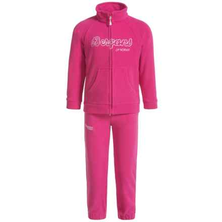 Bergans of Norway Smadol Fleece Jacket and Pants Set (For Toddlers) in Hot Pink/White - Closeouts