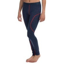 Bergans of Norway Soleie Base Layer Bottoms - Merino Wool (For Women) in Navy Melange/Red - Closeouts