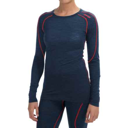 Bergans of Norway Soleie Base Layer Top - Merino Wool, Long Sleeve (For Women) in Navy Melange/Red - Closeouts