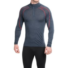 Bergans of Norway Soleie Base Layer Top - Merino Wool, Zip Neck, Long Sleeve (For Men) in Navy Melange/Red - Closeouts