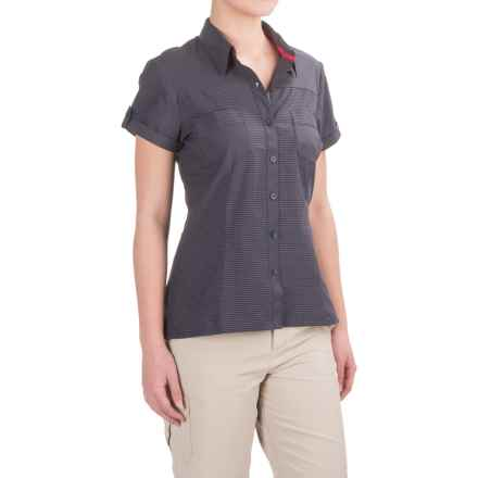 Bergans of Norway Tafjord Shirt - Short Sleeve (For Women) in Navy Check - Closeouts