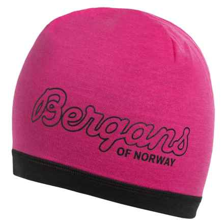 Bergans of Norway Tind Beanie - Merino Wool (For Men and Women) in Hot Pink/Black - Closeouts