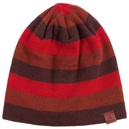 Bergans of Norway Tine Striped Beanie (For Men and Women) in Maroon/Red - Closeouts