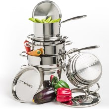 BergHOFF Cooknco Venus Stainless Steel Cookware Set - 12-Piece in Silver - Closeouts