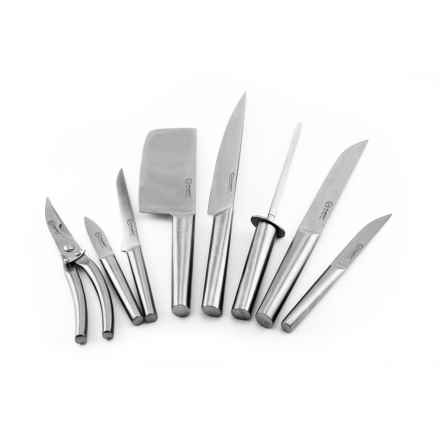 BergHOFF Eclipse Hollow Hand Knife Set with Folding Bag - 9-Piece in Stainless Steel - Closeouts