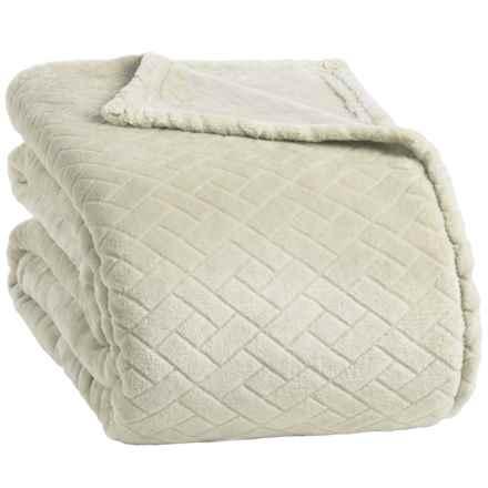 Berkshire Blanket Basket-Weave VelvetLoft® Blanket - Full-Queen in Grain - Closeouts