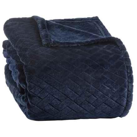 Berkshire Blanket Basket-Weave VelvetLoft® Blanket - Twin in Midnight Blue - Closeouts
