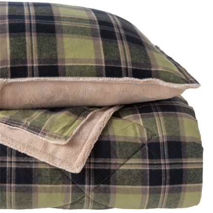 Berkshire Blanket Large Heather Flannel Comforter Mini-Set - Full-Queen in Large Heather - Closeouts