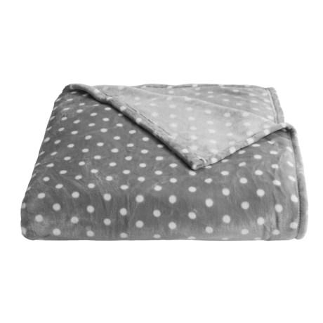 Berkshire Blanket VelvetLoft® Print Blanket - Full-Queen in Polka Dot Grey