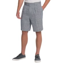 Berle Ascot Linen Shorts (For Men) in Navy/White Check - Closeouts