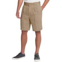 Berle Ascot Linen Shorts (For Men) in Tan/Cream Check - Closeouts